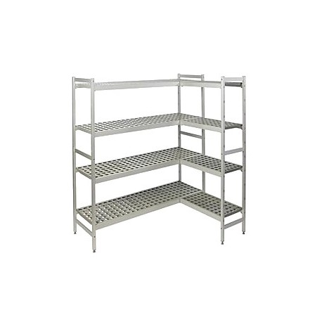 Rayonnage duralinox d'angle pour chambres froides - Profondeur 470 mm
