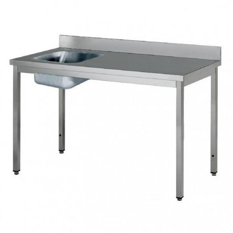 Table adossée inox avec bac à gauche profondeur 700 mm