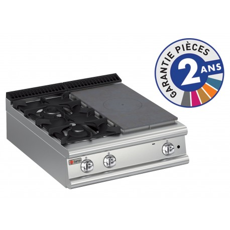 Plaque de cuisson - Top 2 feux vifs gaz + 1/2 plaque coup de feu - Gamme 900 - Baron