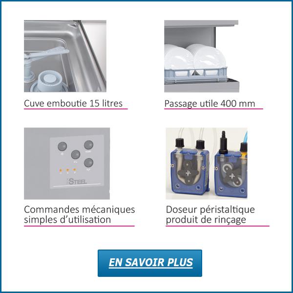 Autres avantages lave-vaisselle à capot STEEL370
