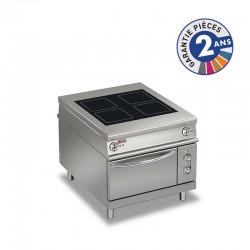 Fourneau plaque de cuisson vitrocéramique électrique sur four électrique traversant - 4 zones - Gamme 1100 - Baron