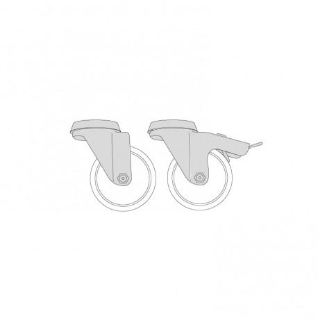 Kit 4 roulettes dont 2 avec frein - S90050