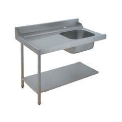 Table avec bac pour machines à capot panier 500 x 500 ou 600 x 500 - PAP712GV