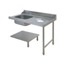 Table avec bac pour machines à capot panier 500 x 500 ou 600 x 500 - PAP712DVF