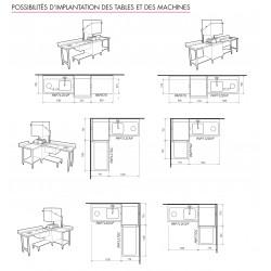 Table lisse pour machines à capot panier 600 x 500 - PAP77GC