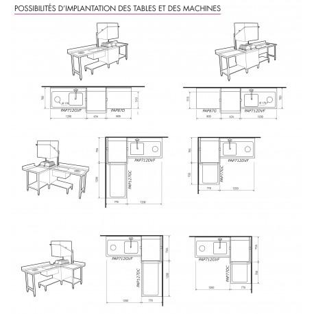 Table lisse pour machines à capot panier 600 x 500 - PAP87D
