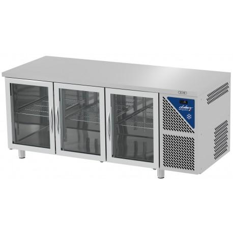 Tabe réfrigérée vitrée positive 0/+10°C sans groupe logé - 350 L - 3 portes - Prof. 600 - 430 x 325 - Dalmec