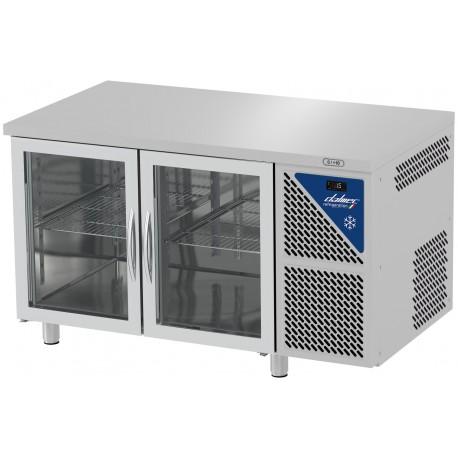 Table réfrigérée positive 0/+10°C sans groupe logé - GN 1/1 - 300 L - 2 portes vitrées - Prof. 700 - Dalmec
