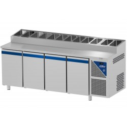 Table snack positive +4/+10°C - 816 L - 4 portes pleines - Prof. 800 - 600 x 400 - Dalmec