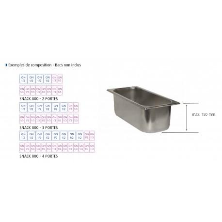 Table snack positive +4/+10°C sans groupe logé - 606 L - 3 portes pleines - Prof. 800 - 600 x 400 - Dalmec