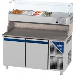 Table à pizza positive 0/+10°C - 396 L - 2 portes pleines - Prof. 800 - 600 x 400 - Dalmec