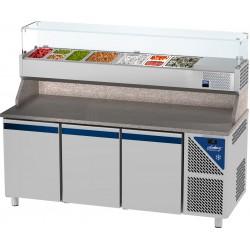 Table à pizza positive 0/+10°C - 606 L - 3 portes pleines - Prof. 800 - 600 x 400 - Dalmec
