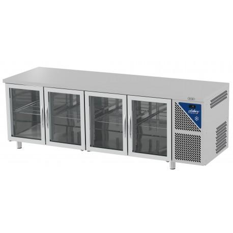 Table réfrigérée positive 0/+10°C sans groupe logé - GN 1/1 - 630 L - 4 portes vitrées - Prof. 700 - Dalmec