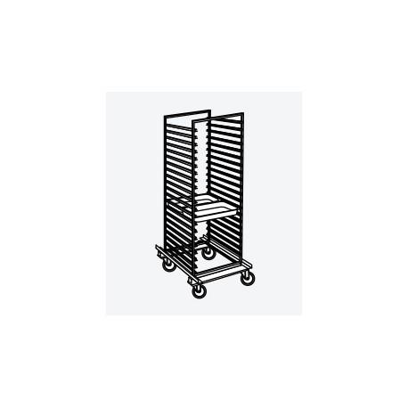 Chariot porte-plats inox avec roulettes pour 16 plats 600 x 800 - DACH16-2