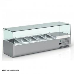 Vitrine réfrigérée positive +2/+8°C pour table à pizza - 5 bacs GN 1/3 + 1 bac GN 1/2 - VRX153 - Nosem