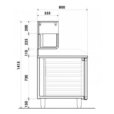 Table à pizza positive +2/+8°C - 2 portes + 7 tiroirs à patons - 427 litres - Dessus granit - Prof. 800 mm - PZ2610TN - Nosem
