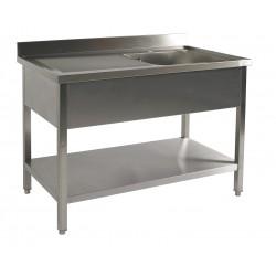 Table du chef adossée inox avec étagère profondeur 700 mm - Bac à droite - Nosem