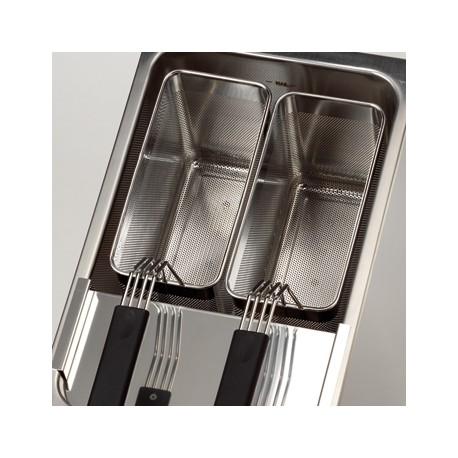 2 Paniers inox perforés - 140 x 296 mm pour cuiseurs à pâtes