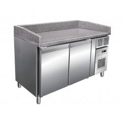 Table à pizza positive +2/+8°C - 2 portes - 427 litres - Dessus granit - Profondeur 800 mm - PZ2600TN - Nosem