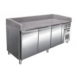 Table à pizza positive +2/+8°C - 3 portes - 669 litres- Dessus granit - Profondeur 800 mm - PZ3600TN - Nosem