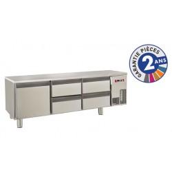 Soubassement réfrigéré sans dessus - 4 tiroirs + 1 porte - 220 L - Gamme 650 - Baron