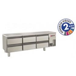 Soubassement réfrigéré sans dessus - 6 tiroirs - 220 L - Gamme 650 - Baron