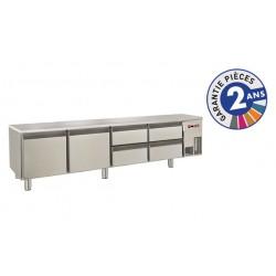 Soubassement réfrigéré sans dessus - 4 tiroirs + 2 portes - 300 L - Gamme 650 - Baron
