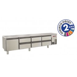 Soubassement réfrigéré sans dessus - 6 tiroirs + 1 porte - 300 L - Gamme 650 - Baron