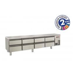 Soubassement réfrigéré sans dessus - 8 tiroirs - 300 L - Gamme 650 - Baron