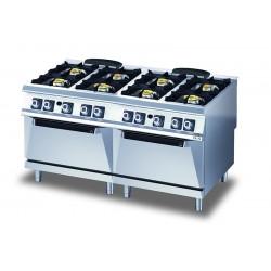 Fourneau - 4 feux gaz sur four gaz - Diamante 90 - Olis - D9810CGG