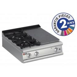 Plaque de cuisson - Top 2 feux vifs gaz + 1/2 plaque coup de feu - Gamme 700 - Baron