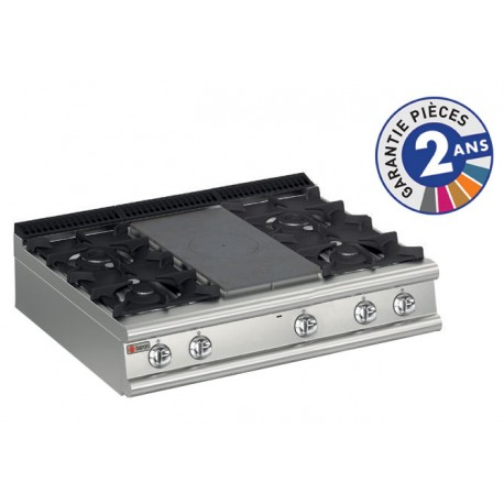 Plaque de cuisson - Top 4 feux vifs gaz + 1/2 plaque coup de feu - Gamme 700 - Baron