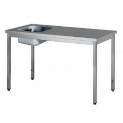 Table inox avec bac à gauche profondeur 700 mm