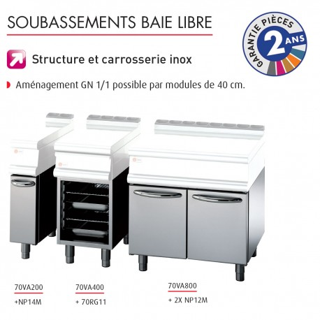 Soubassement baie libre - Prof. 630 mm - Gamme 700 - Baron