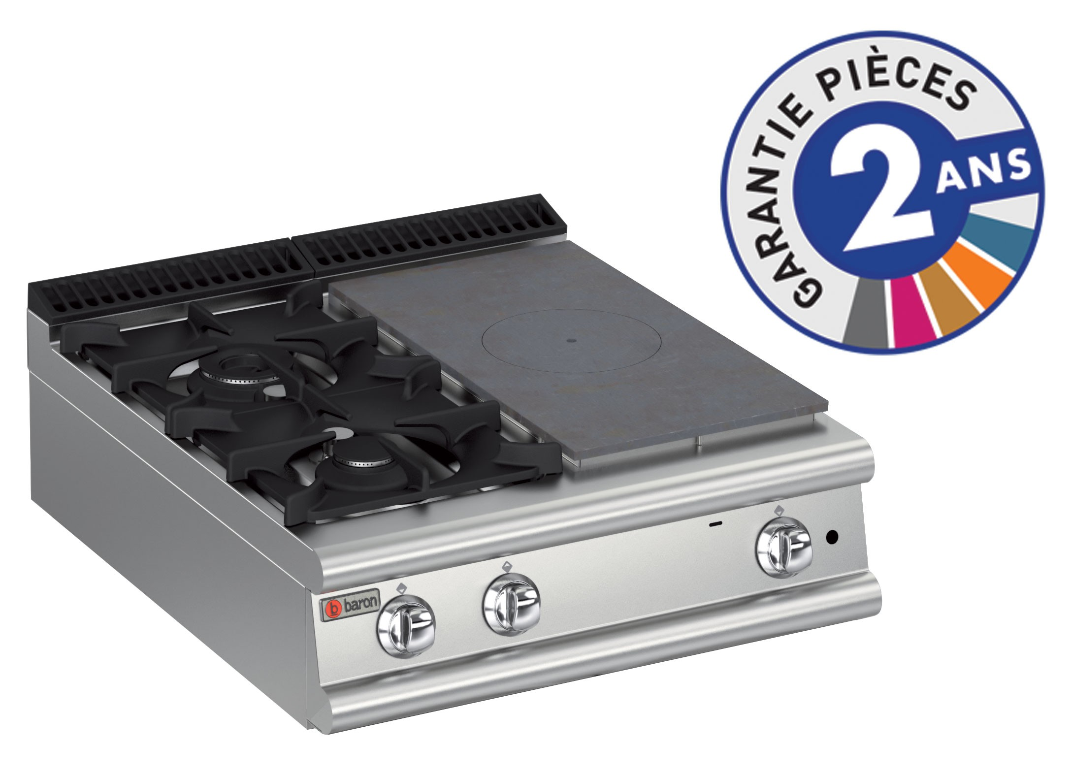Baron gamme 900 top 2 feux vifs gaz et 1 2 plaque coup de feu - Plaque de cuisson gaz deux feux ...