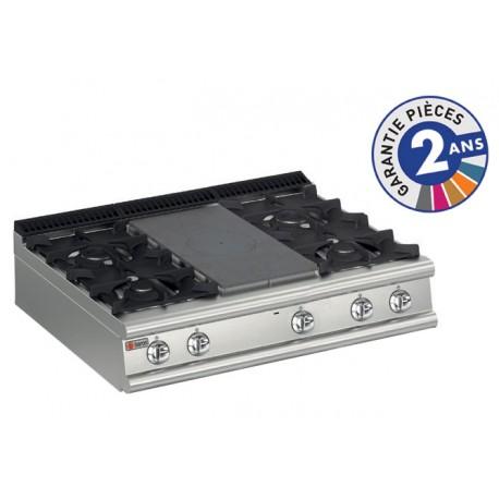 Plaque de cuisson - Top 4 feux vifs gaz + 1/2 plaque coup de feu - Gamme 900 - Baron